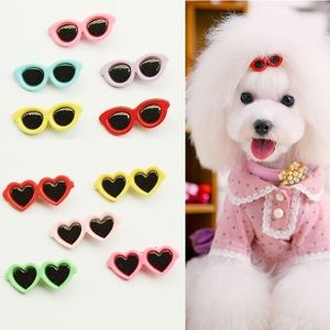 Heart Shaped Sunglasses Pet Grooming Hair Clips